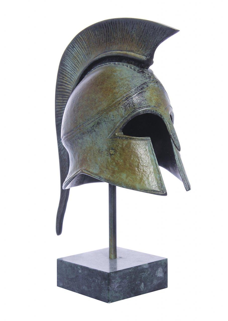 Athenian helmet greek bronze statue on marble base