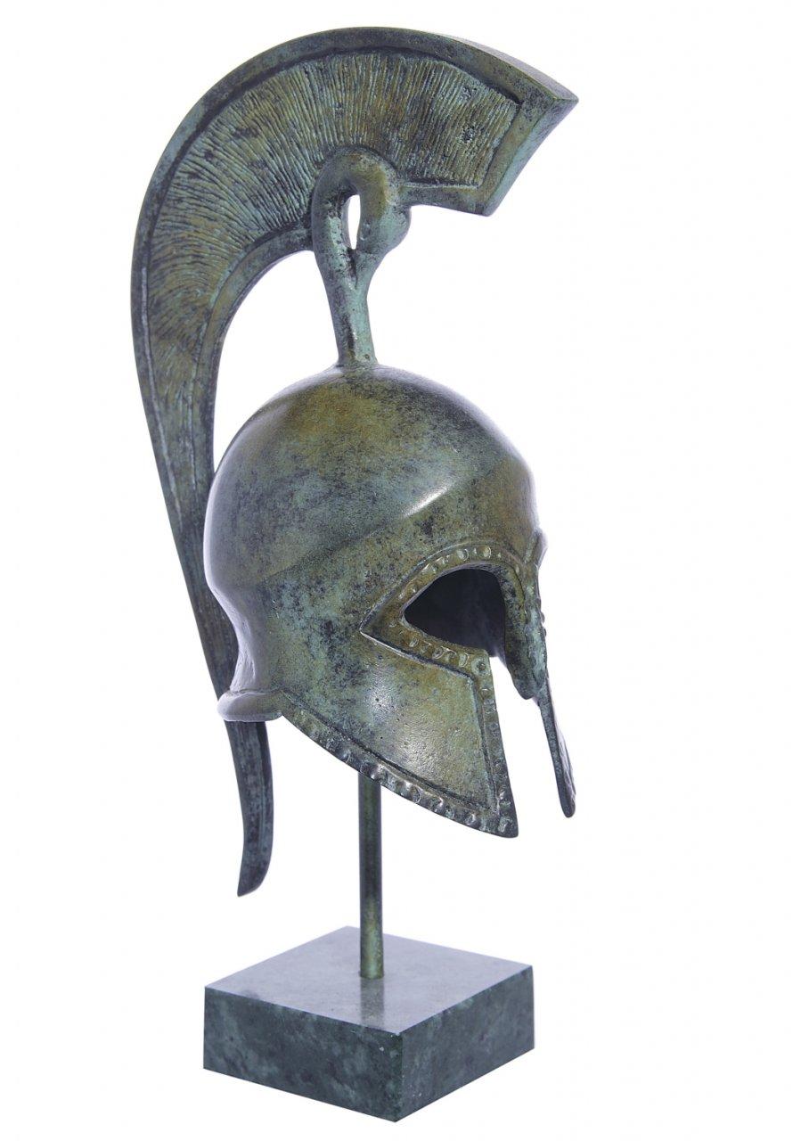 Spartan helmet greek bronze statue on marble base