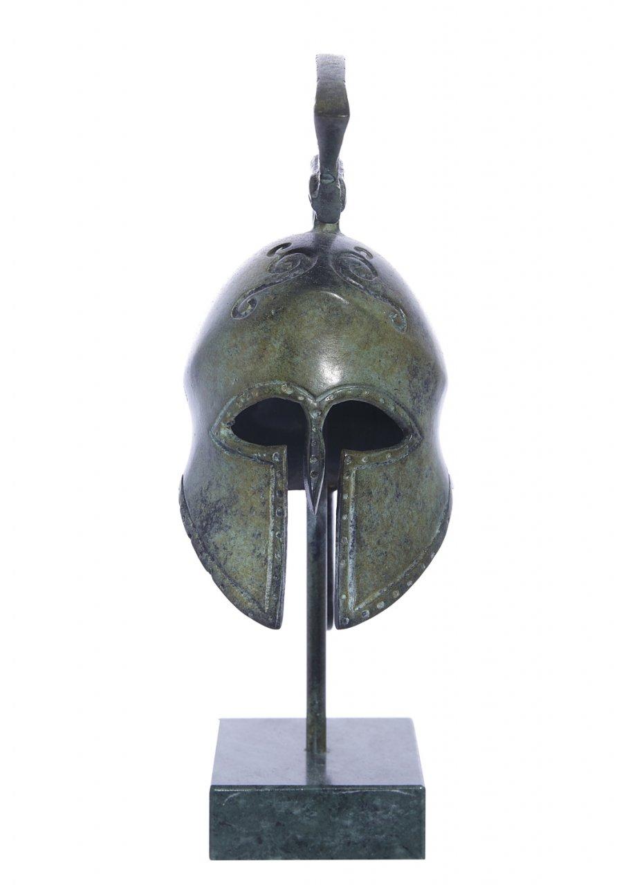 Spartan helmet with engraved snake greek bronze statue on marble base