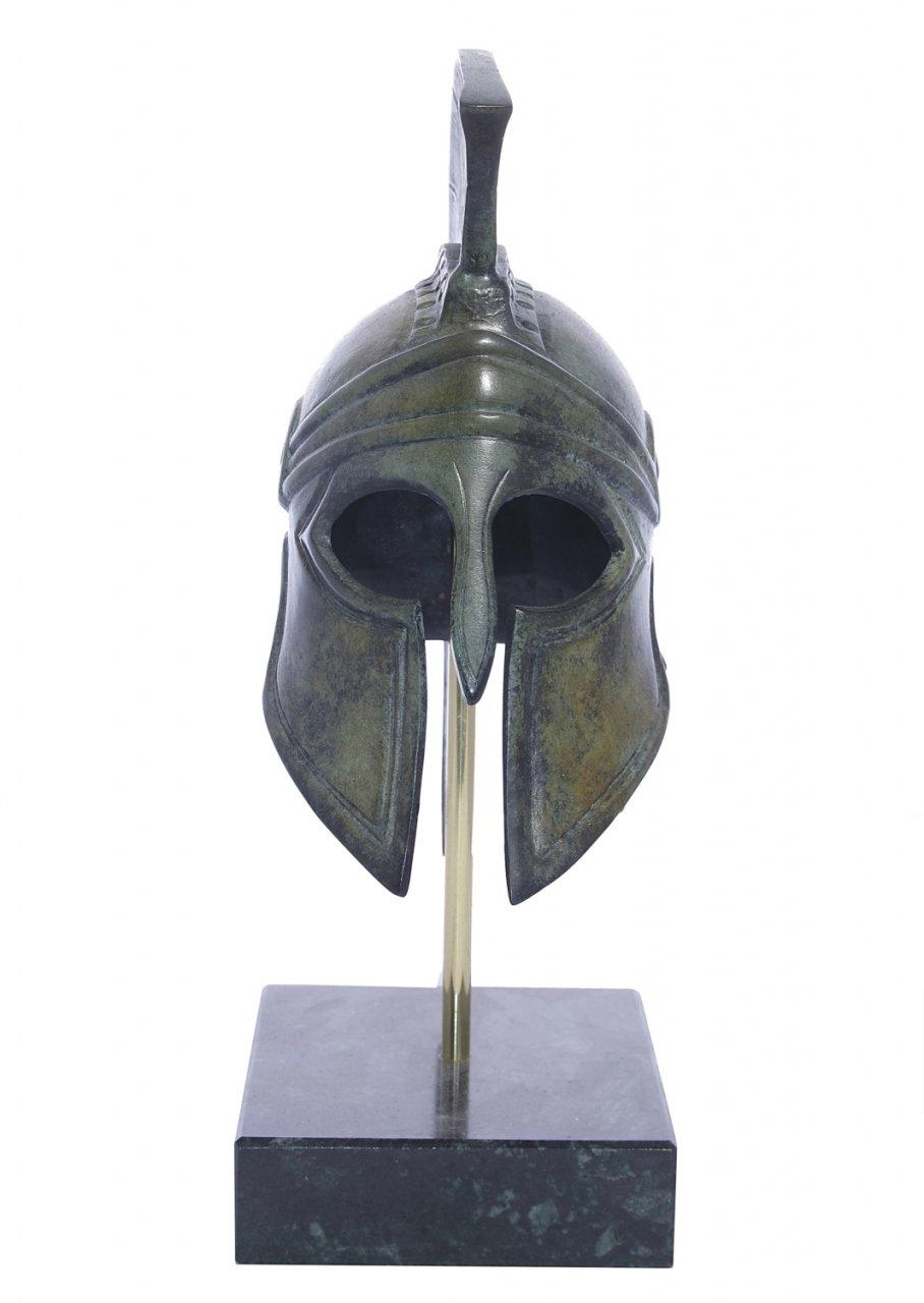Greek bronze statue of Athenian helmet on marble base