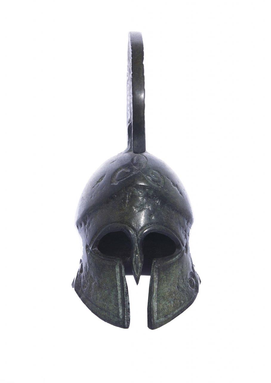 Achilles helmet greek bronze statue