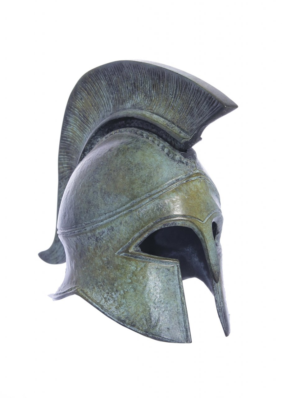 Athenian helmet greek bronze statue