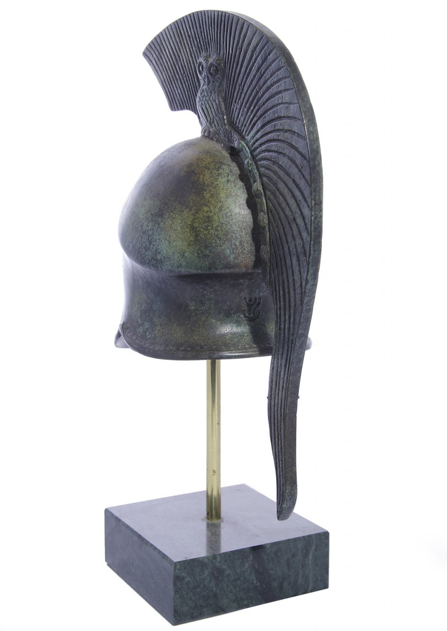 Athenian helmet with engraved owl greek bronze statue on marble base