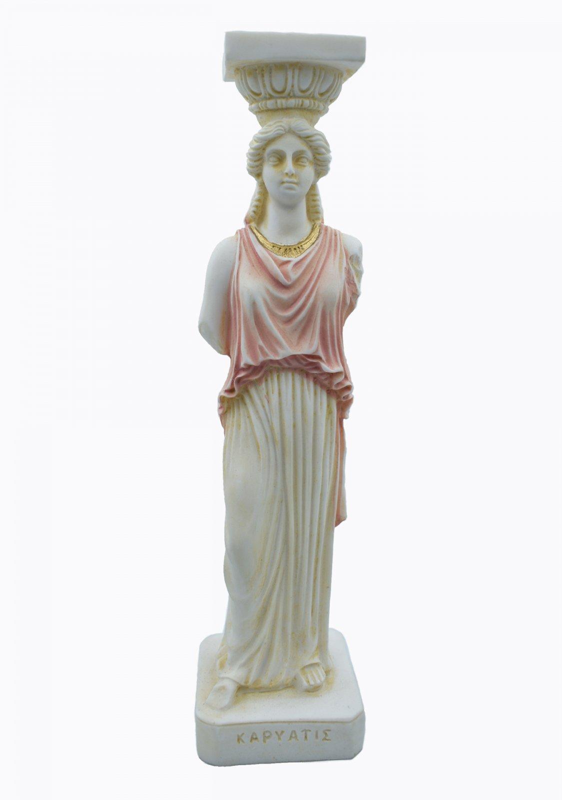 Caryatid greek alabaster statue - pink