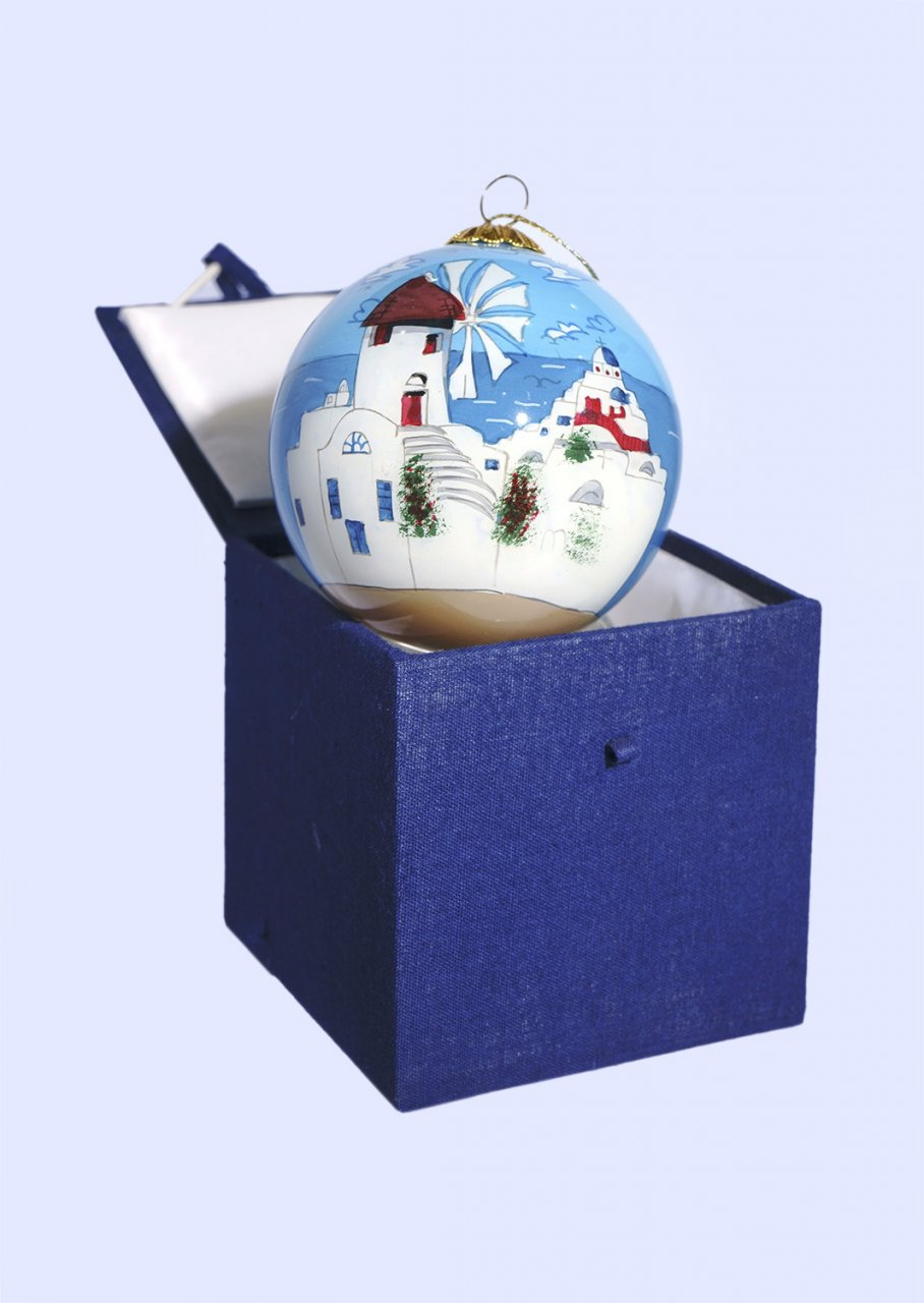 Christmas Ball Mykonos ornament tree in a gift box