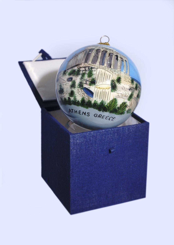 Christmas Ball Parthenon Acropolis ornament tree in a gift box