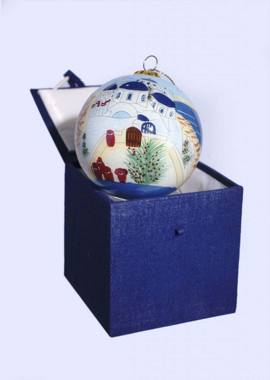 Christmas Ball Santorini ornament tree in a gift box