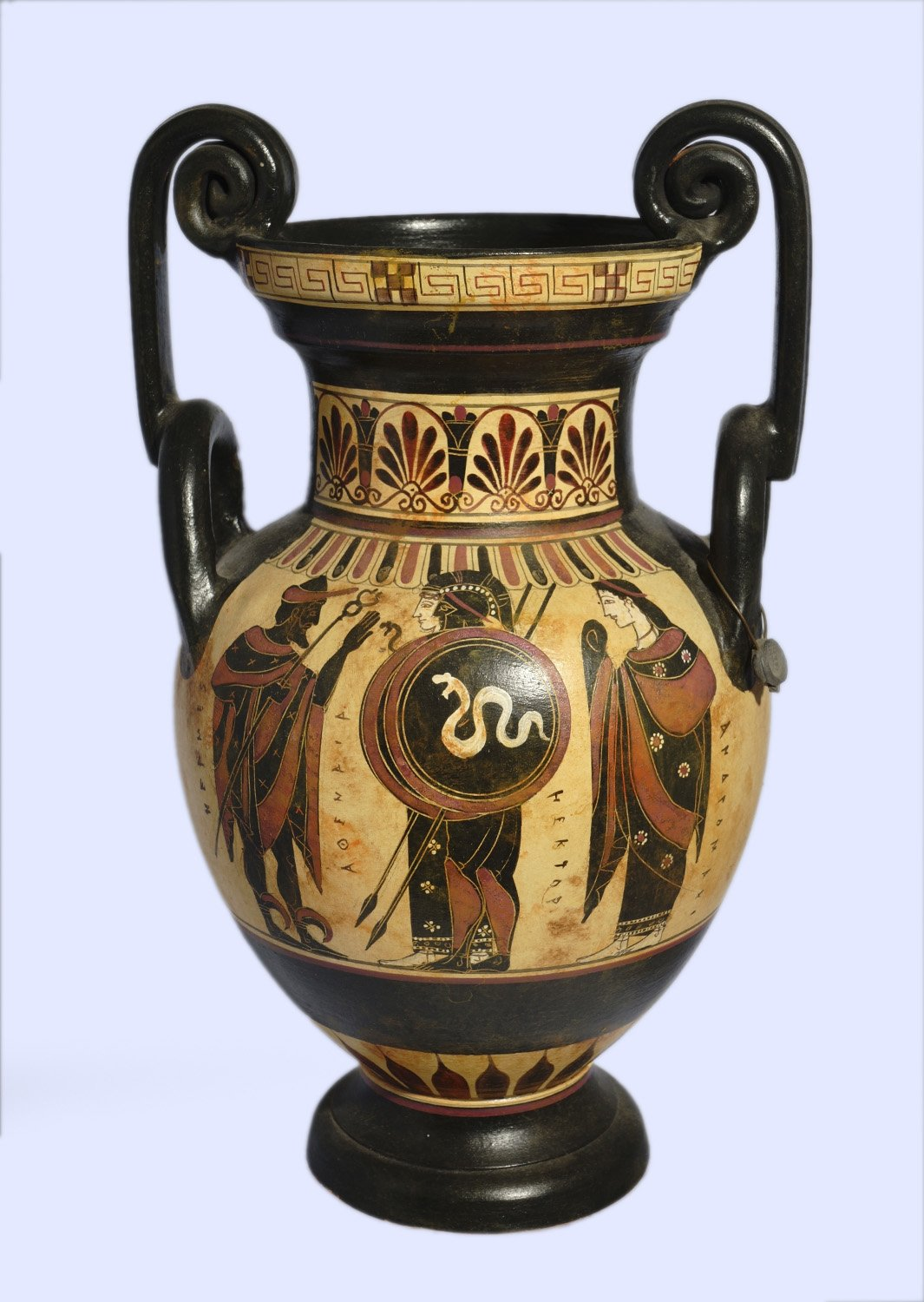 Archaic black-figure amphora with Hermes, Athena, Hector and Andromache