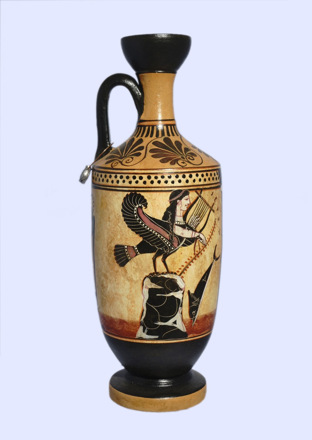 Archaic black-figure lekythos with Odysseus and the Sirens