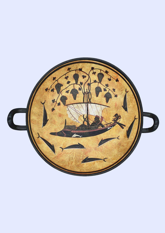 God Dionysus in a ship-Attic black-figure kylix