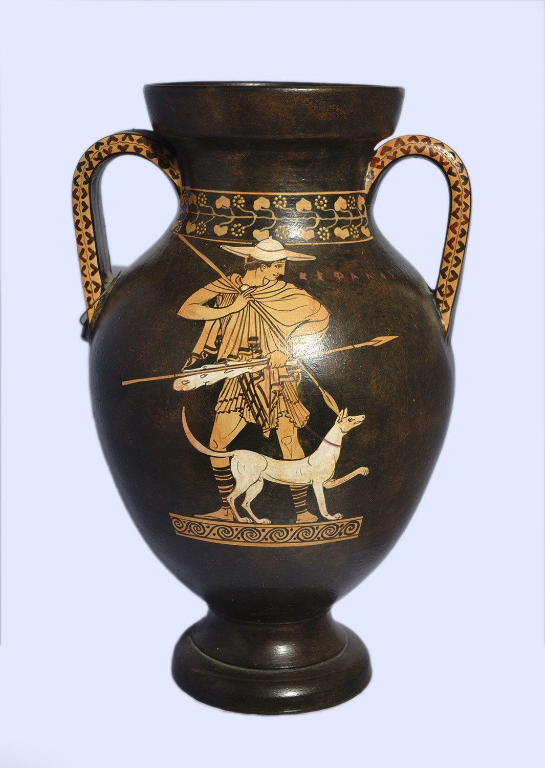 Classical red-figure amphora with Hermes, a Satyr and Cephalus