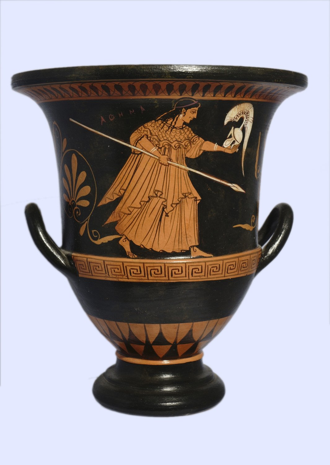 Classical red-figure crater with Achilles - Hector - Athena, greek pottery replica