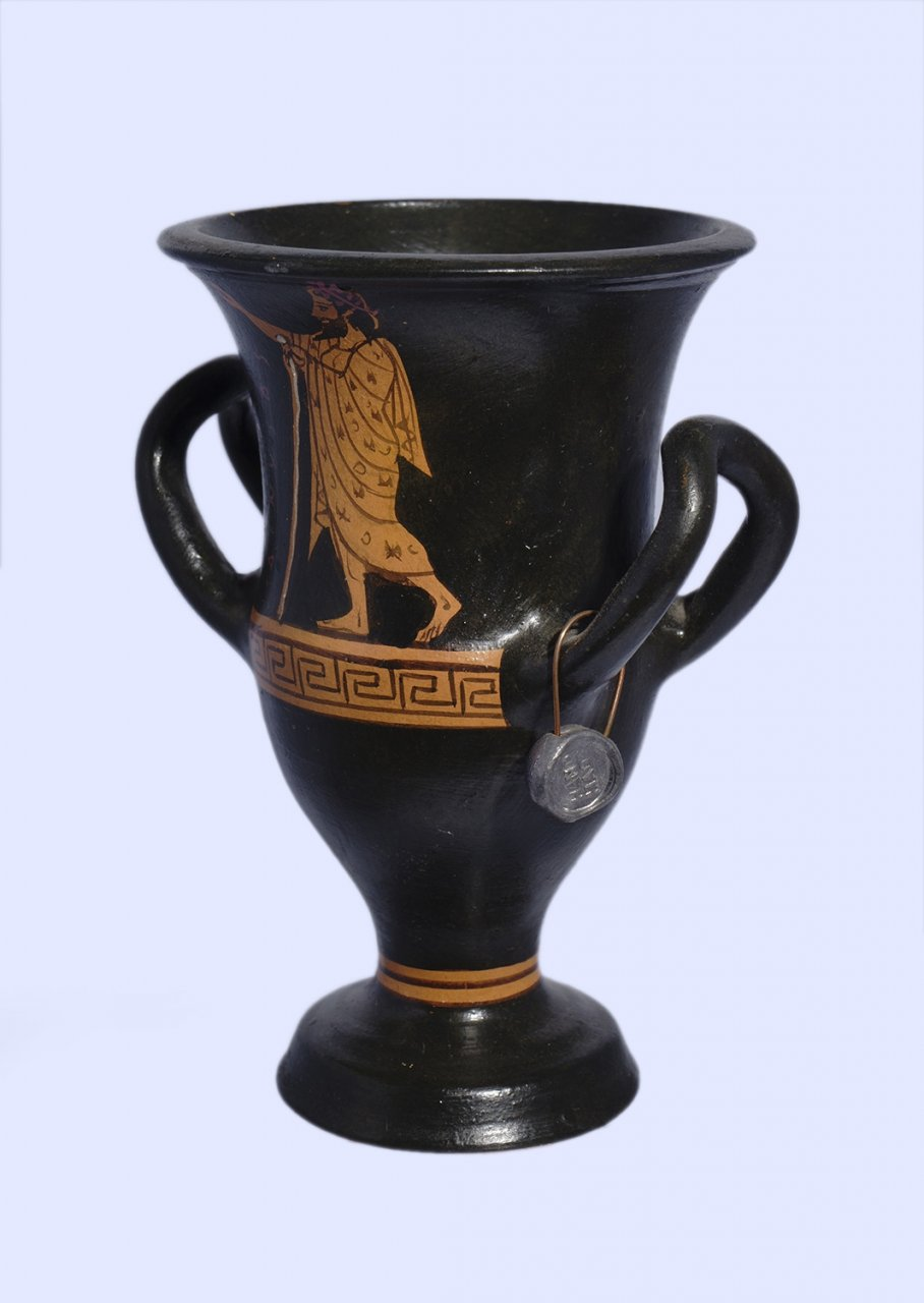 Handmade Red-figure kantharos depicting Dionysus and Athena