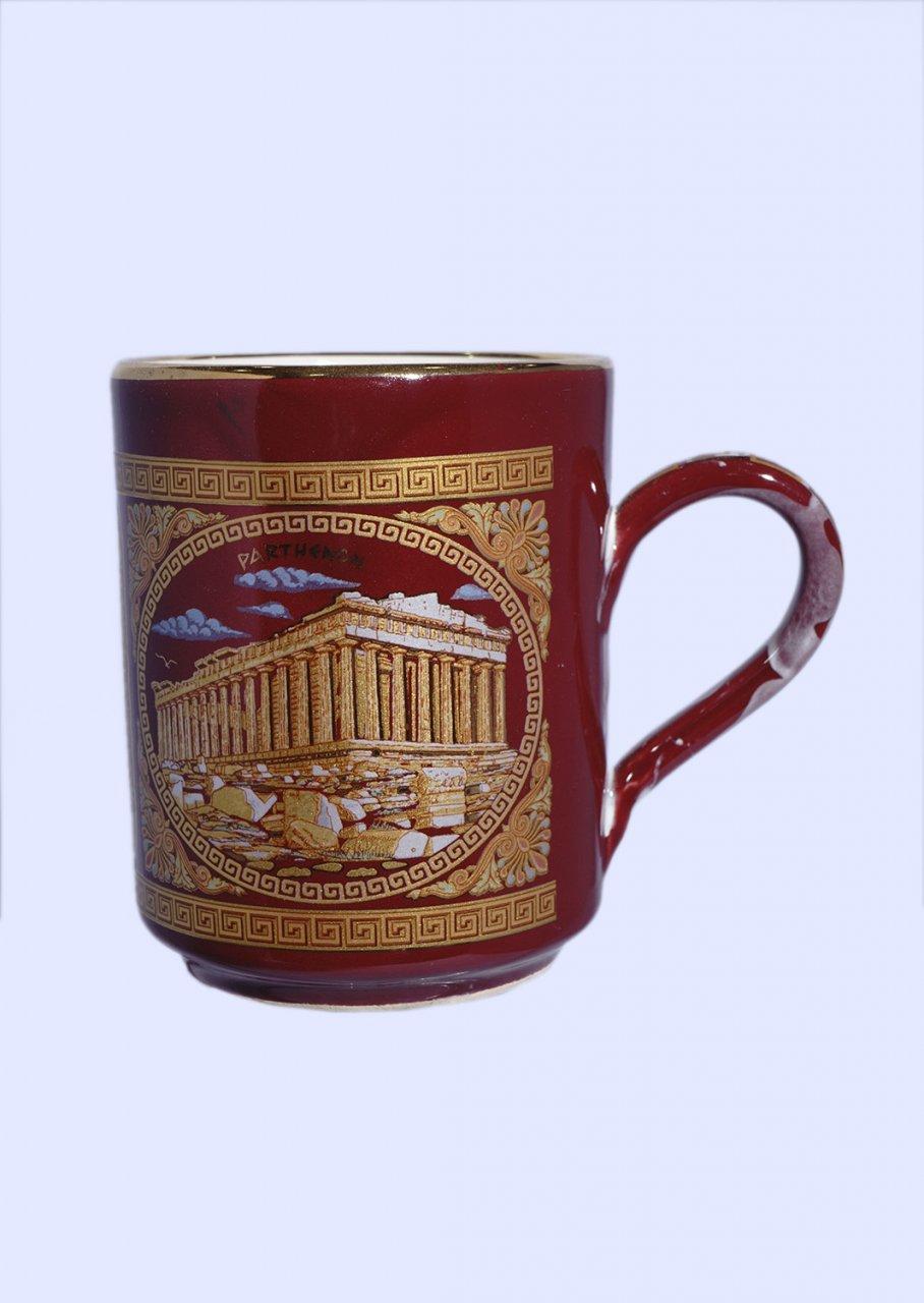 Red porcelain mug with the Acropolis - 24K gold