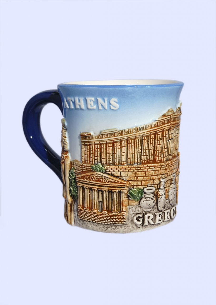 Porcelain mug decorated with a relief of the Acropolis of Athens