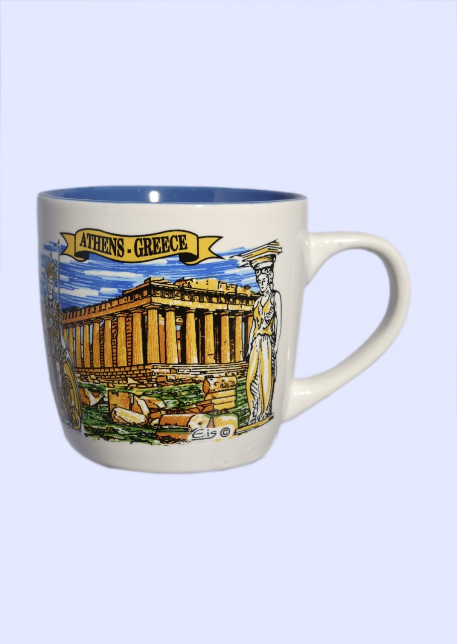 Porcelain cup with Parthenon of Acropolis in Athens