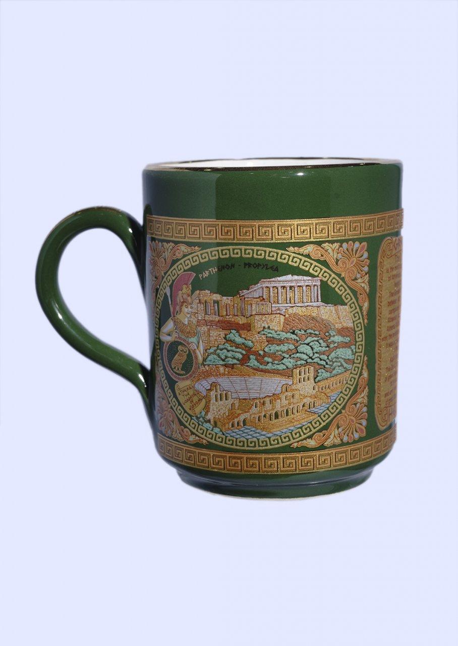 Green porcelain mug with the Acropolis - 24K gold