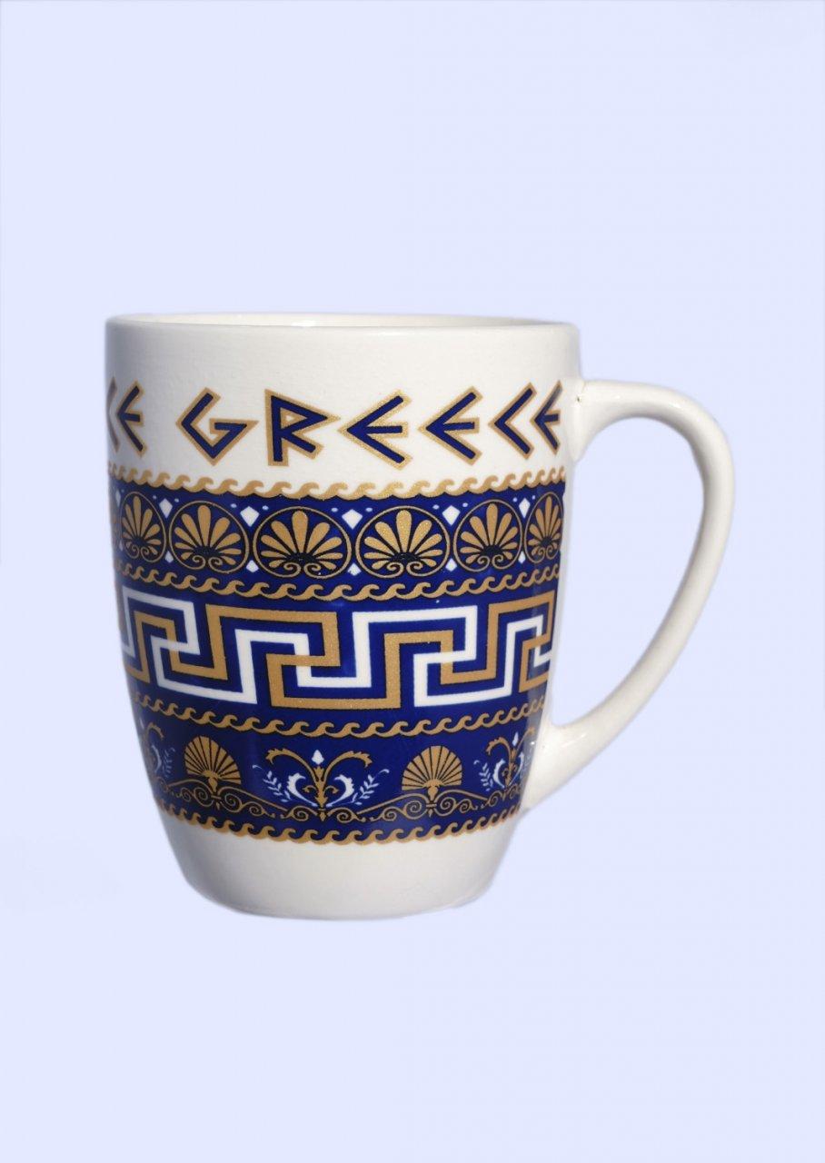 Porcelain mug with Meanders, the Greek key design