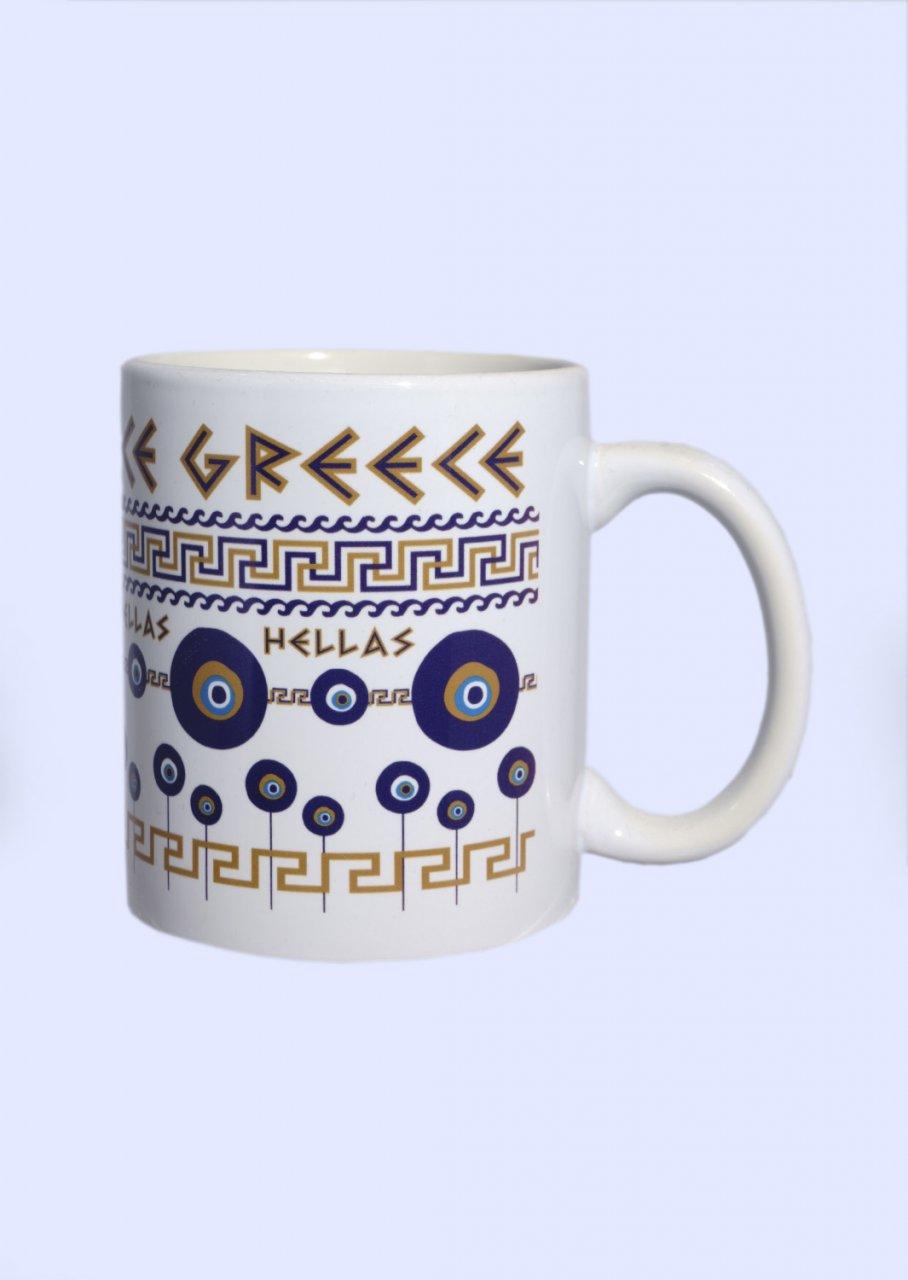 Porcelain mug with Evil Eyes and the Greek Key design - Meander