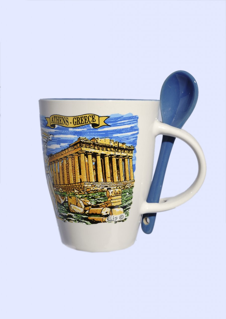 Porcelain cup depicting the Parthenon of Acropolis, accompanied by a blue spoon