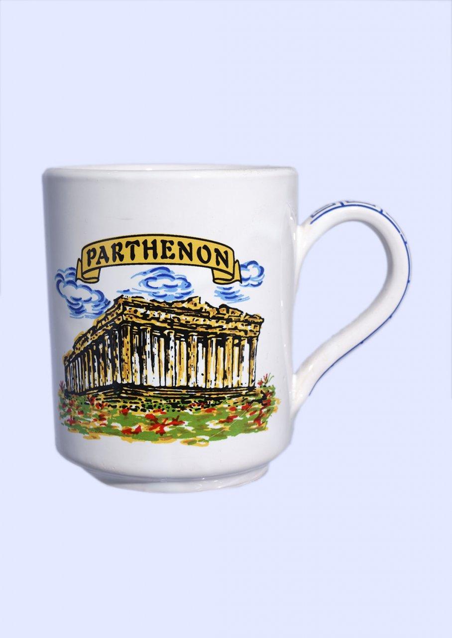 Porcelain mug with Parthenon of Acropolis in Athens