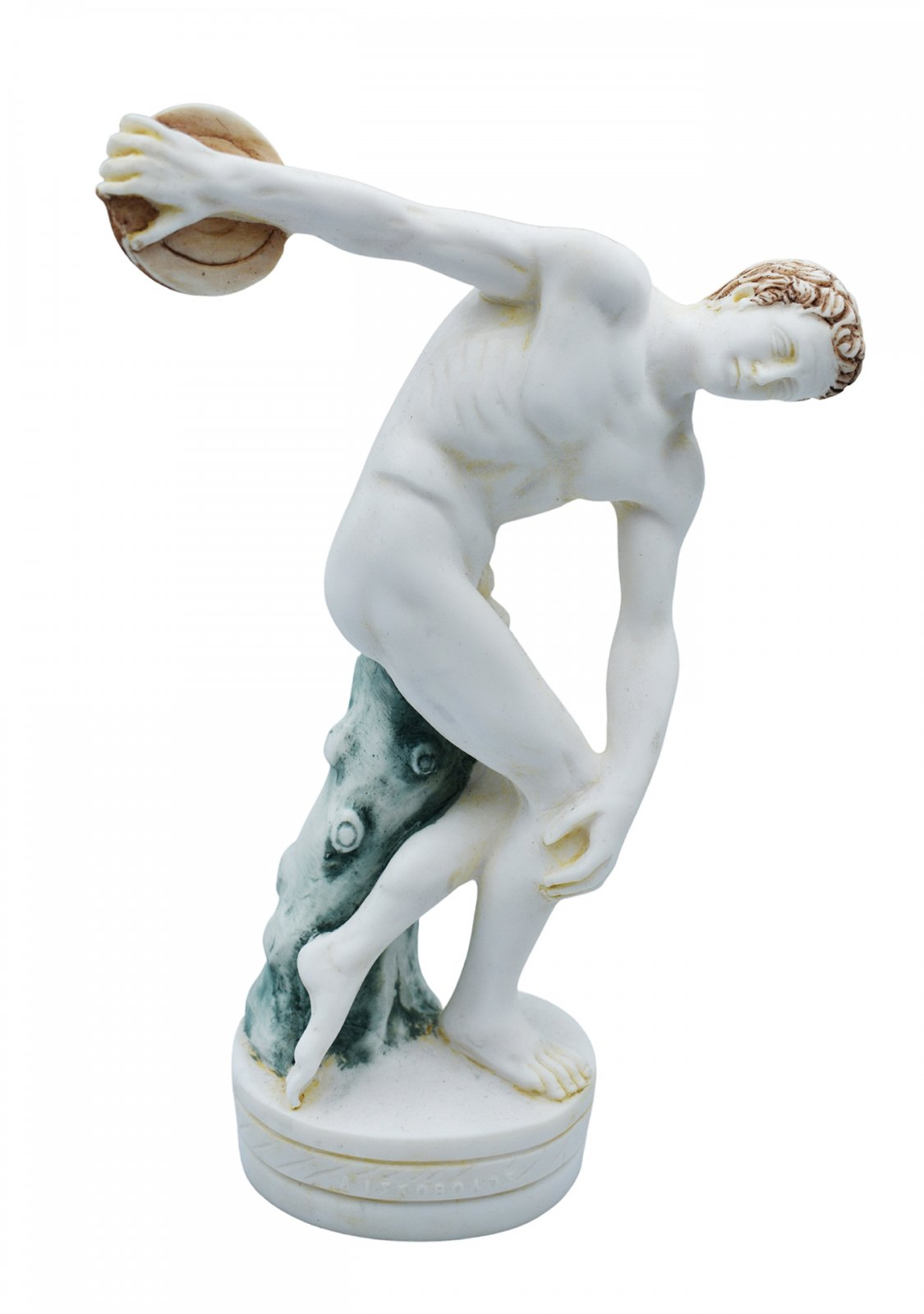 Discus thrower, Discobolus of Myron, greek alabaster statue with color