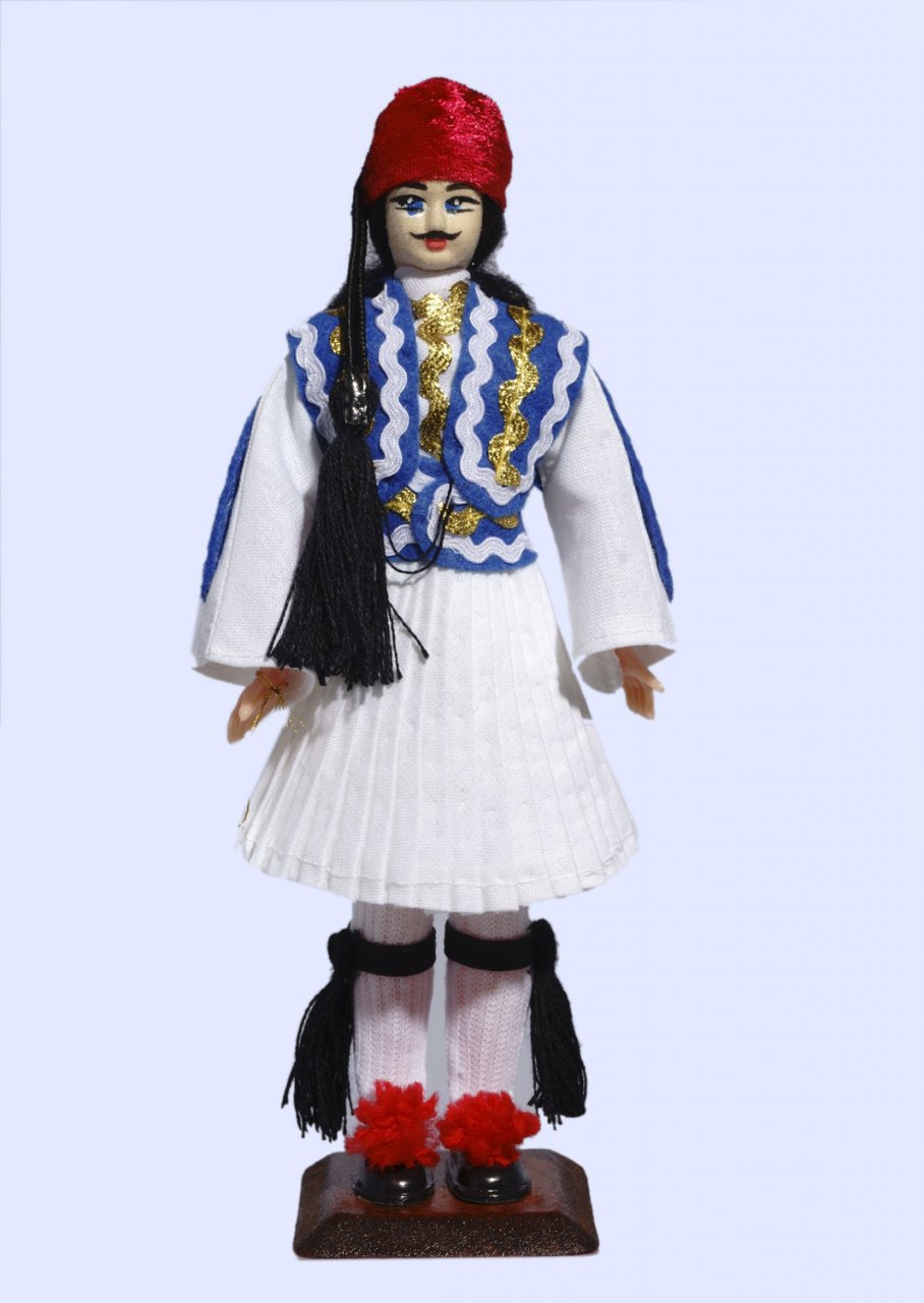 Handmade Large Tsolias Doll-Blue vest