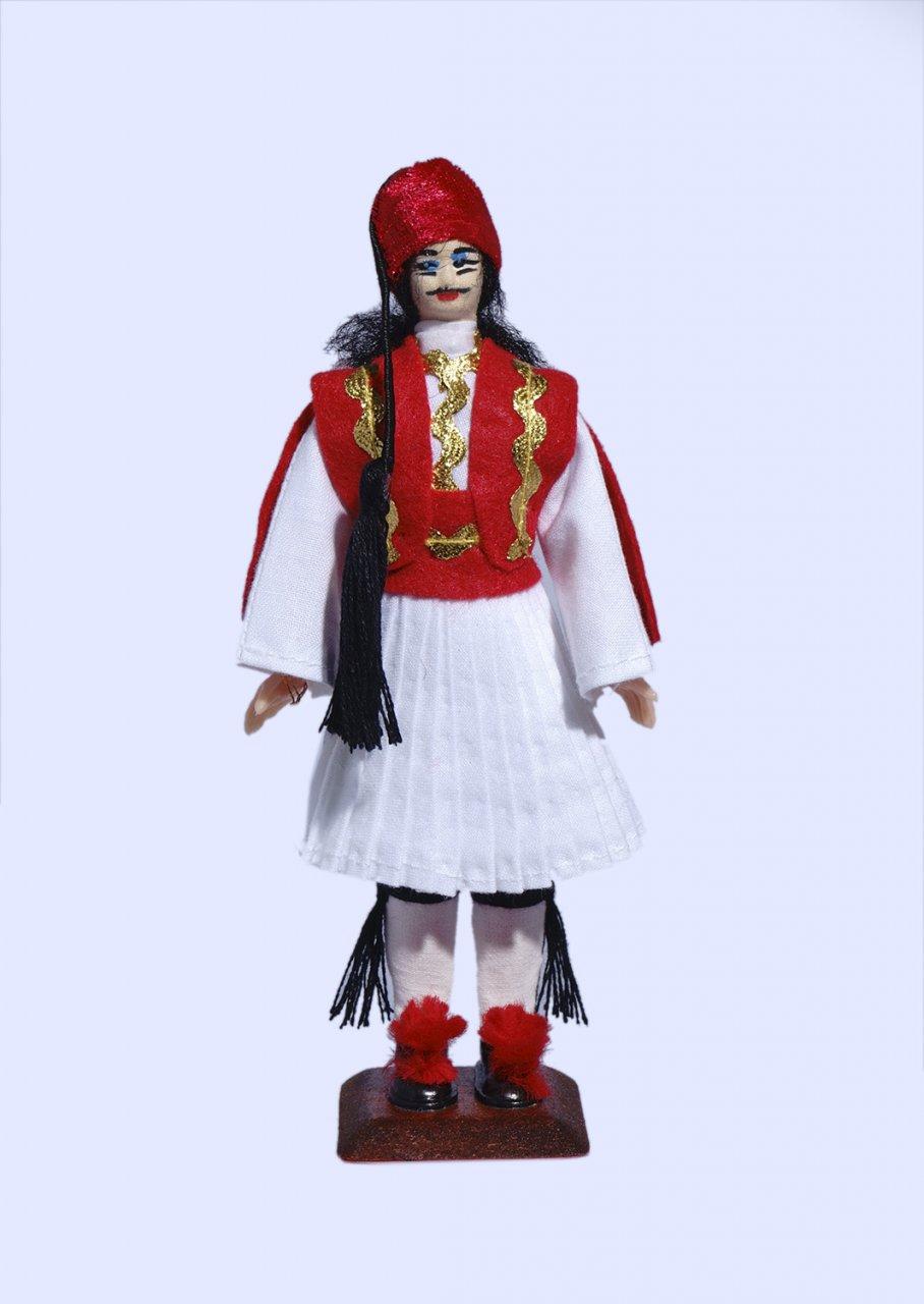 Handmade Small Tsolias Doll-Red vest