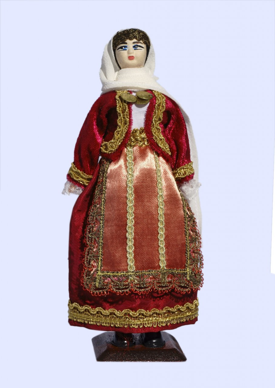 Handmade Large doll of an Athenian woman dressed in traditional greek costume