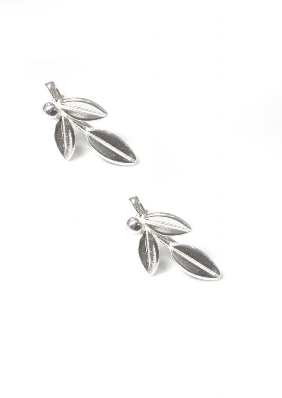 Greek olive branch silver drop - dangle earrings