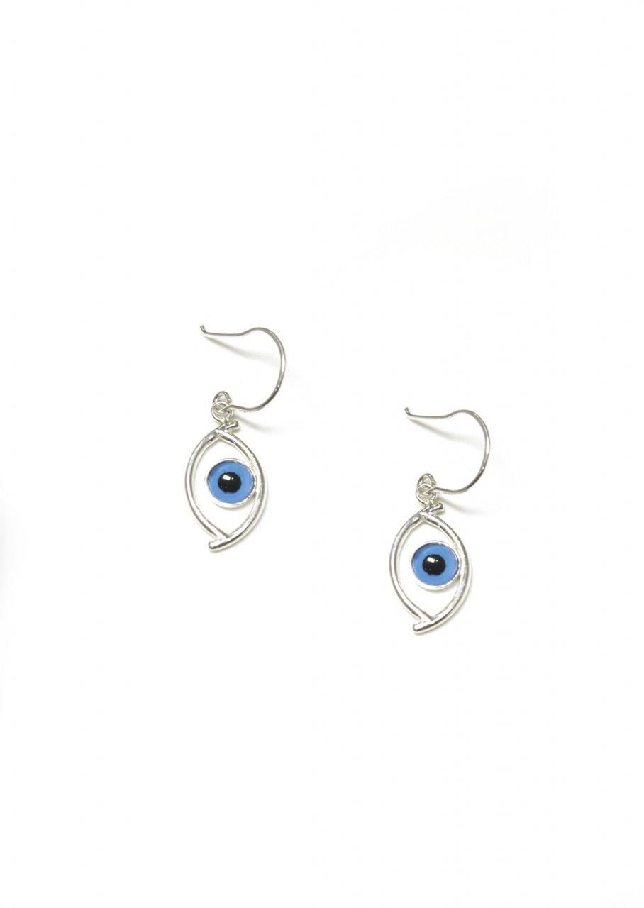 Evil eye greek silver drop - dangle earrings