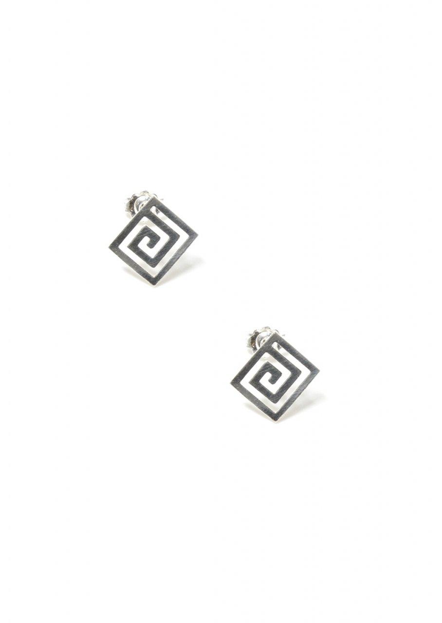 Thin greek key design silver stud earrings