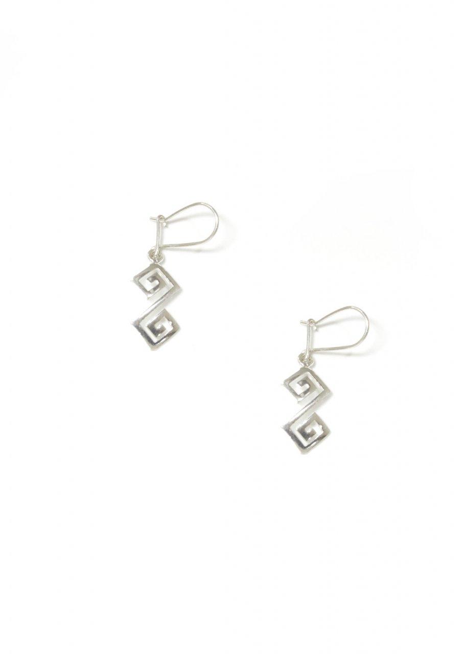 Double greek key design - meander silver drop - dangle earrings