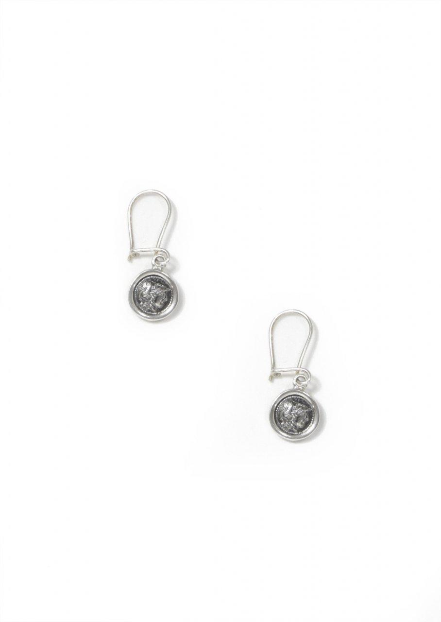 Athena goddess of wisdom thick silver drop - dangle earrings