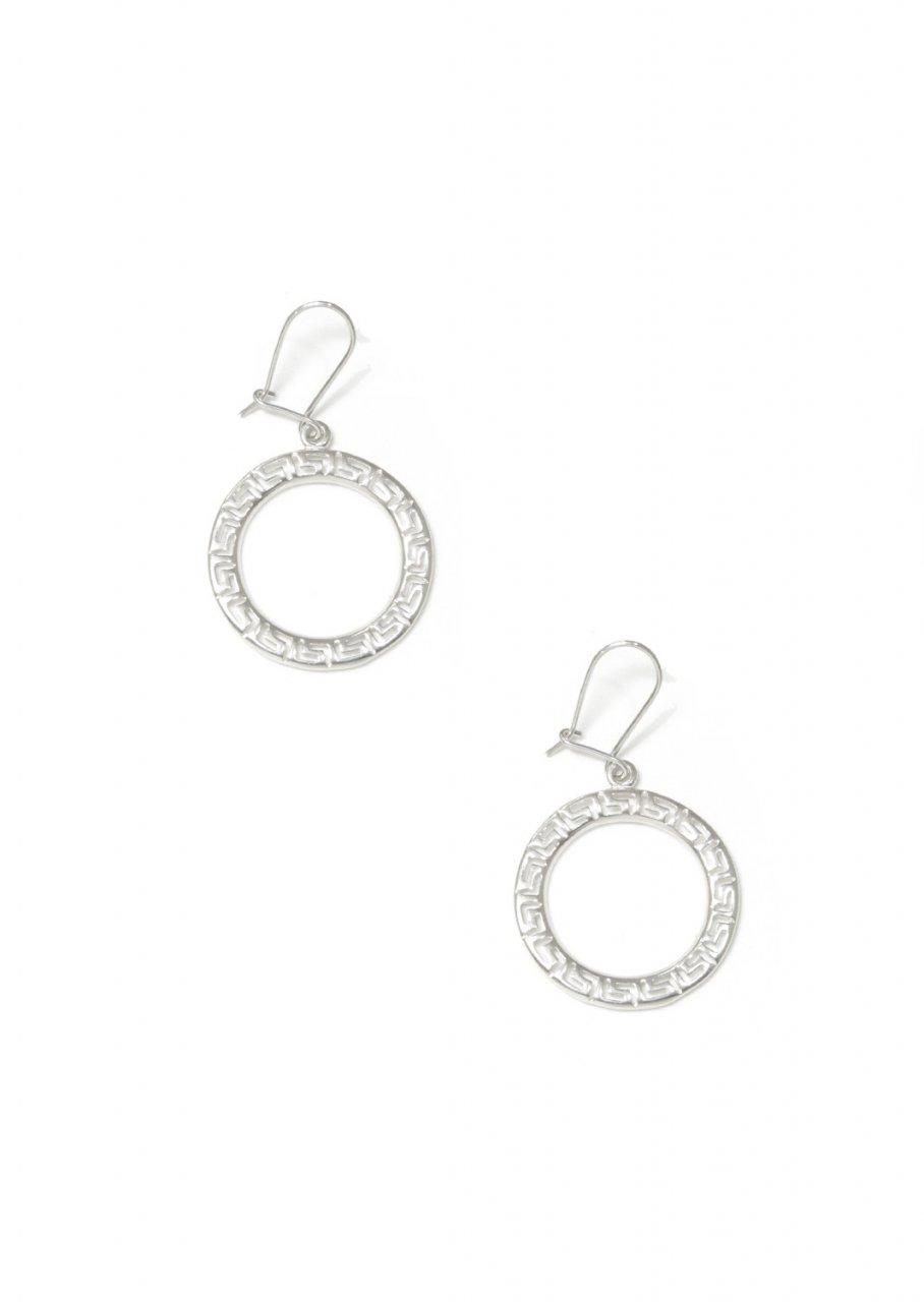 Dangle hoop earrings with greek key design - meander
