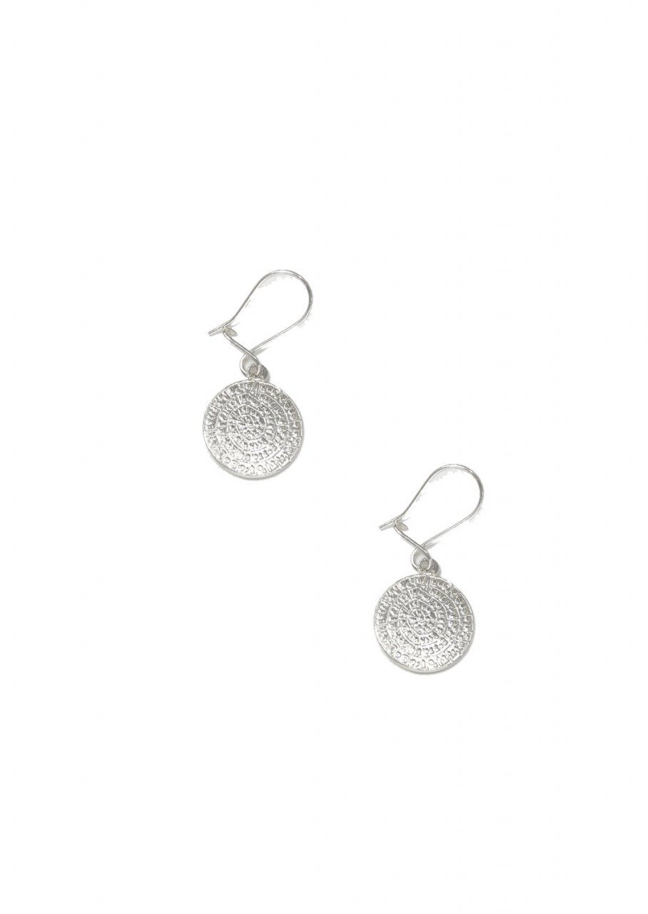 Large Phaistos Disc silver drop - dangle earrings