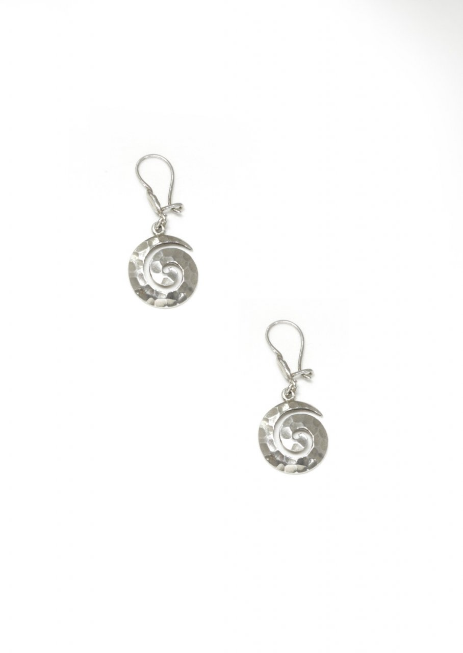 Greek small thick spiral drop - dangle hammered earrings