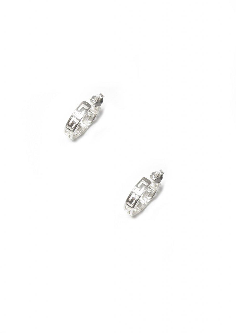 Large silver hoop earrings with greek key design - meander