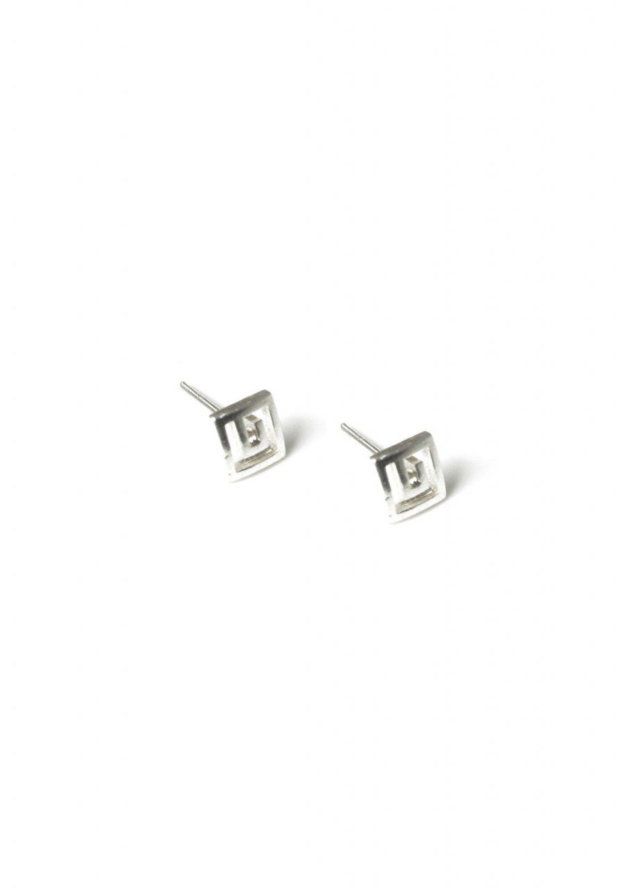 Small greek key design silver stud earrings