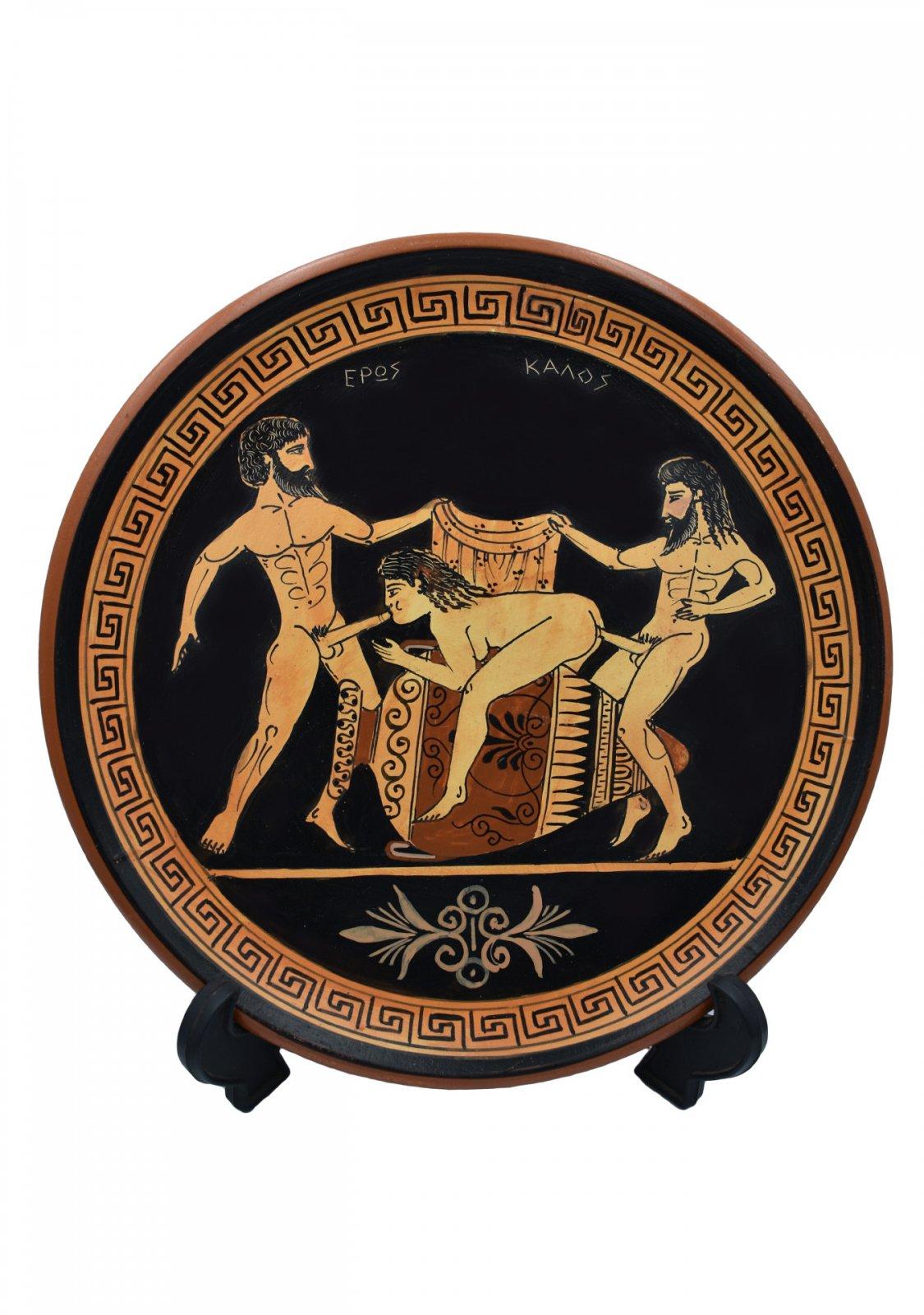 Ancient Erotic Scene Art, Threesome Sex, Handmade Greek Ceramic Plate (24cm)
