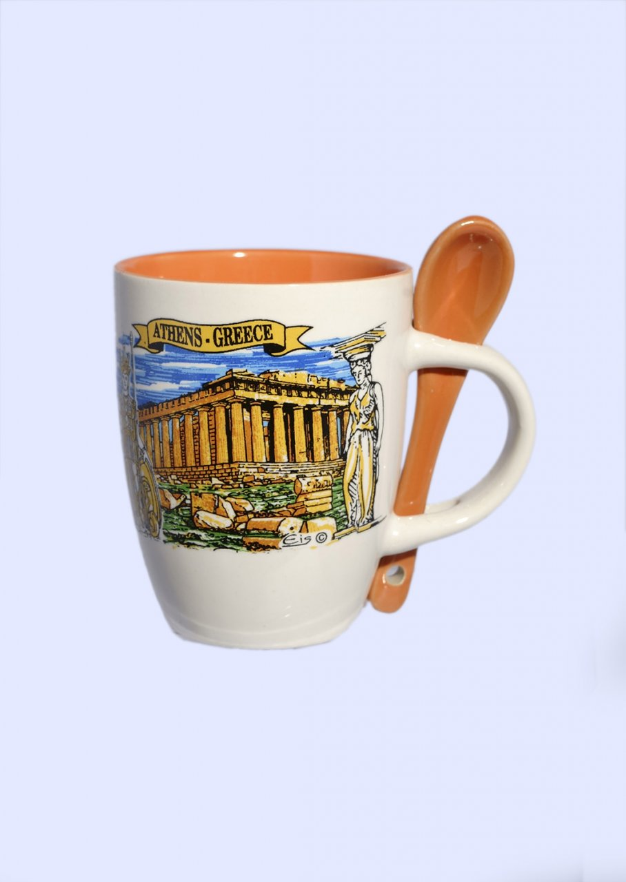 Porcelain espresso cup depicting the Parthenon of Athens, accompanied by an orange spoon