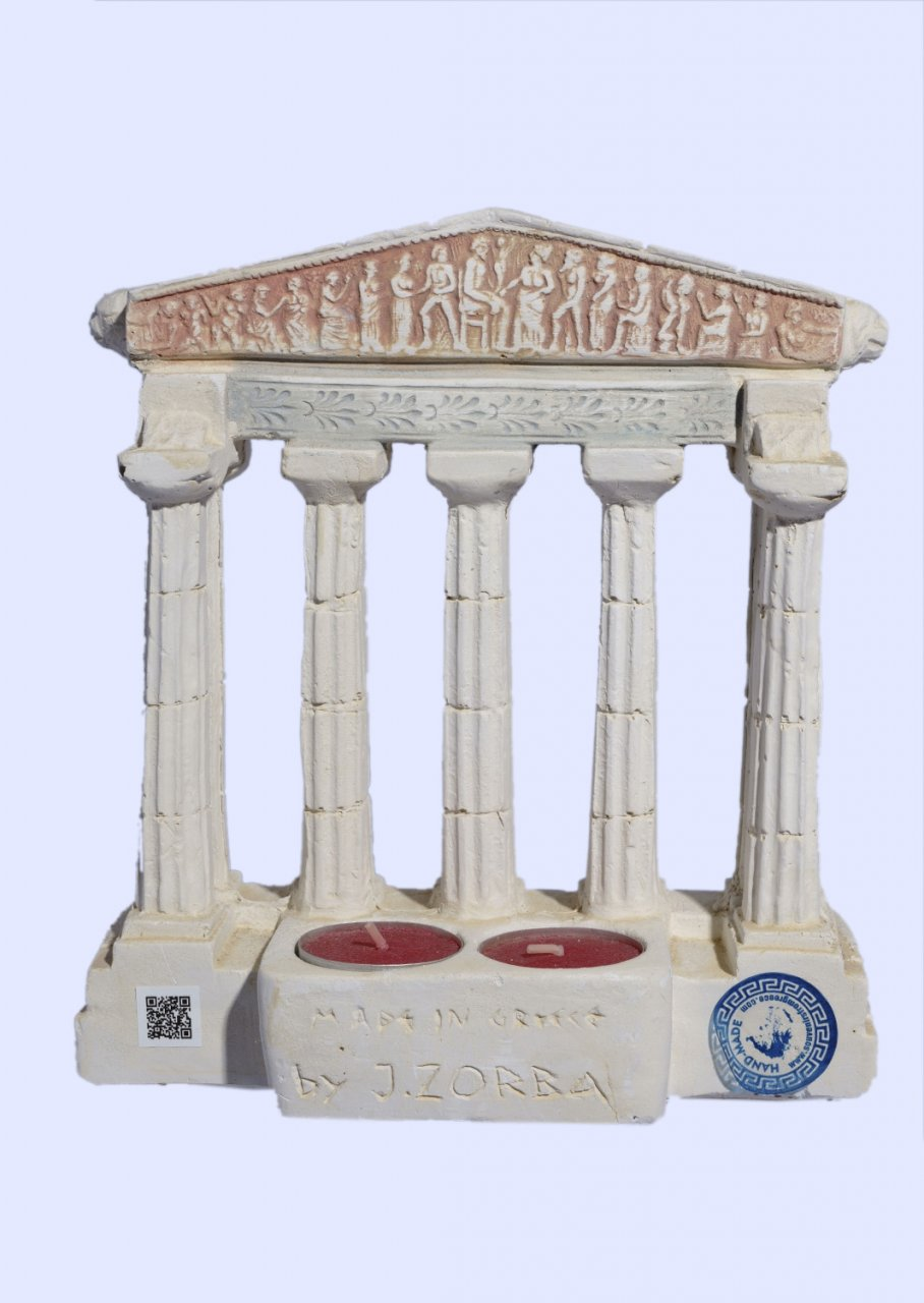 Parthenon facade of the Acropolis in Athens large plaster candlestick
