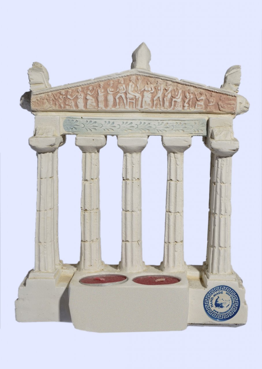 Parthenon facade of the Acropolis in Athens large plaster candlestick with acroceramo