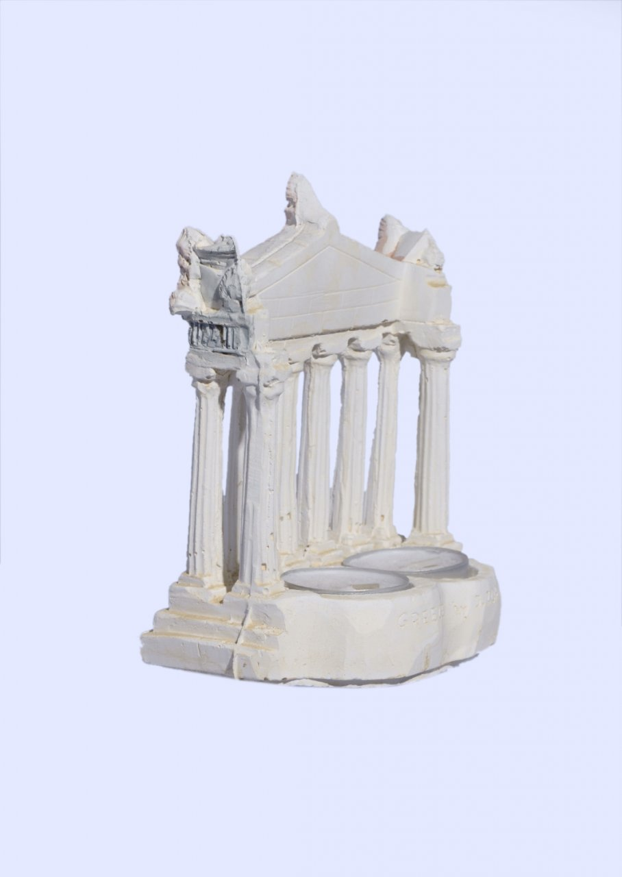 Parthenon facade of the Acropolis in Athens medium plaster candlestick with acroceramo