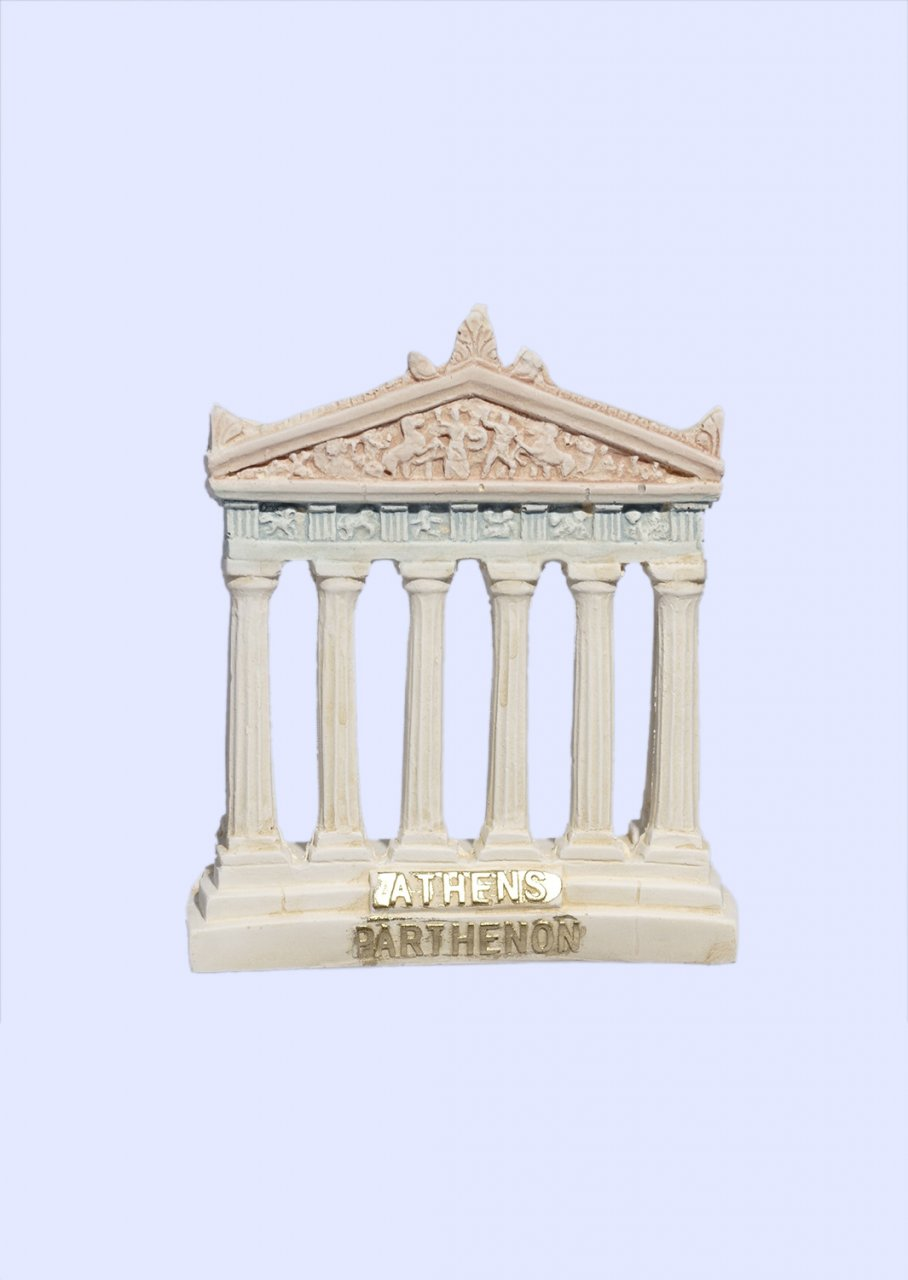 Parthenon facade of the Acropolis in Athens medium plaster statue with acroceramo