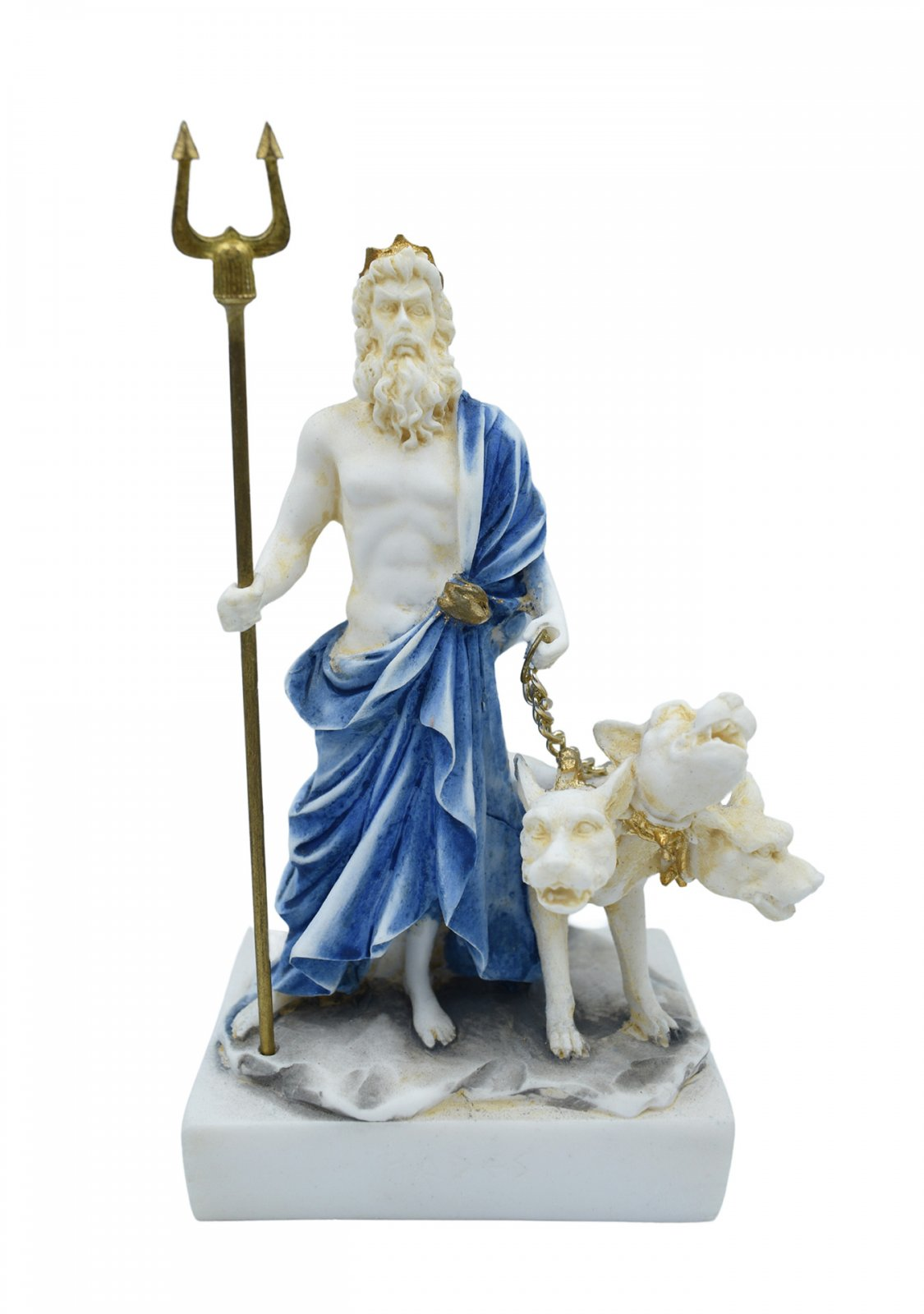 Hades, Pluto, God of the dead and the king of the underworld, small alabaster statue with color