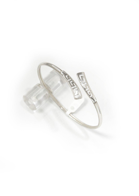 Greek key design - Meander silver cuff bracelet