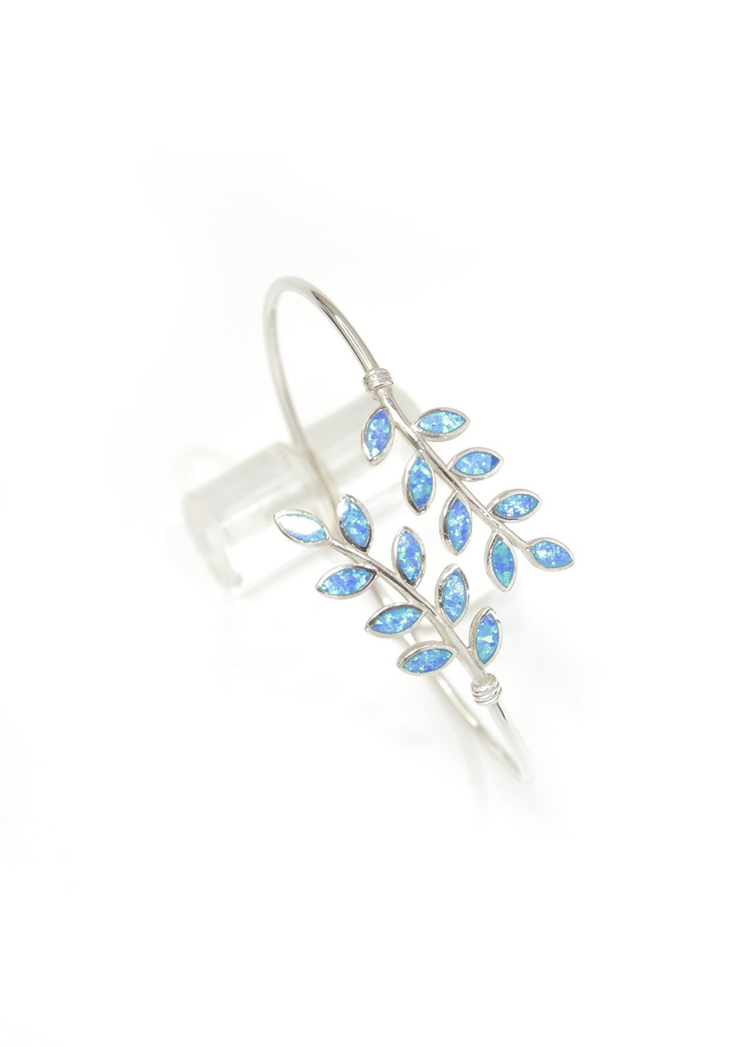 Olive branches silver cuff bracelet with opal