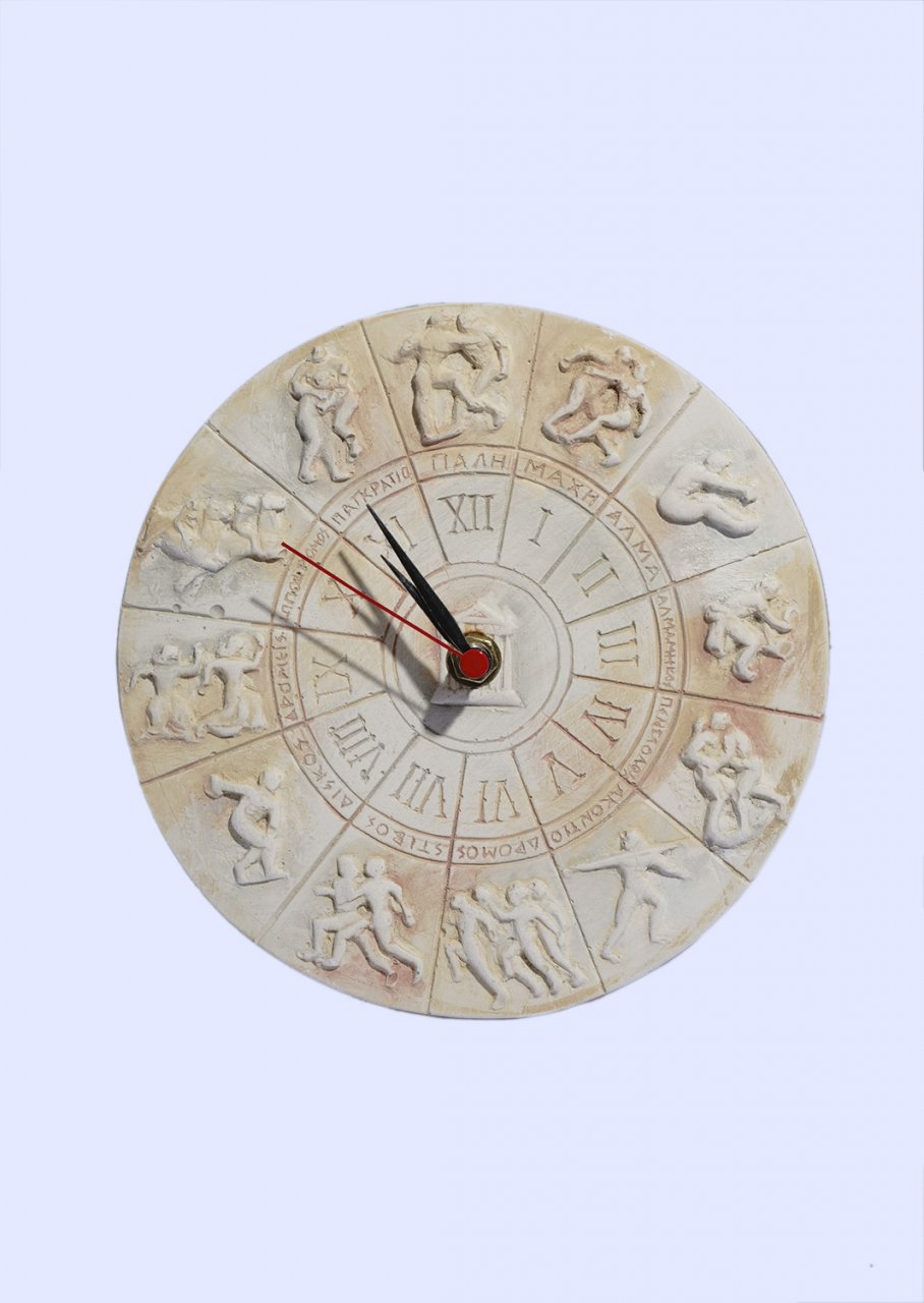 Round plaster wall clock with The ancient Olympic Games Sports