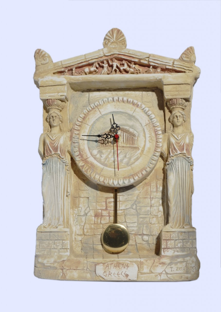 Handmade plaster pendulum wall clock with Caryatids (Karyatides)